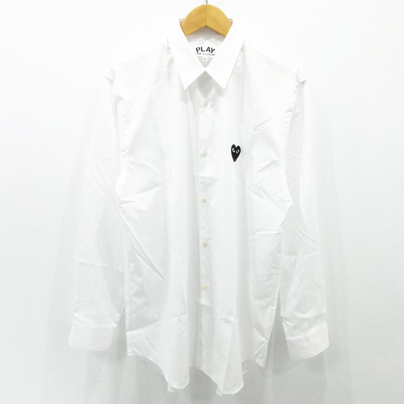 【中古】PLAY COMME des GARCONS プレイコムデギャルソン ブラック ハート ロゴ 長袖 シャツ AZ-B004 ホワイト サイズ:L【f108】