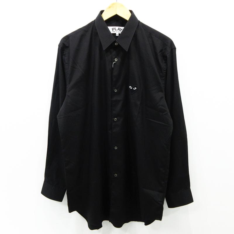【中古】PLAY COMME des GARCONS|プレイコムデギャルソン ブラック ハート ロゴ 長袖 シャツ AZ-B004 ブラック サイズ:XL【f108】