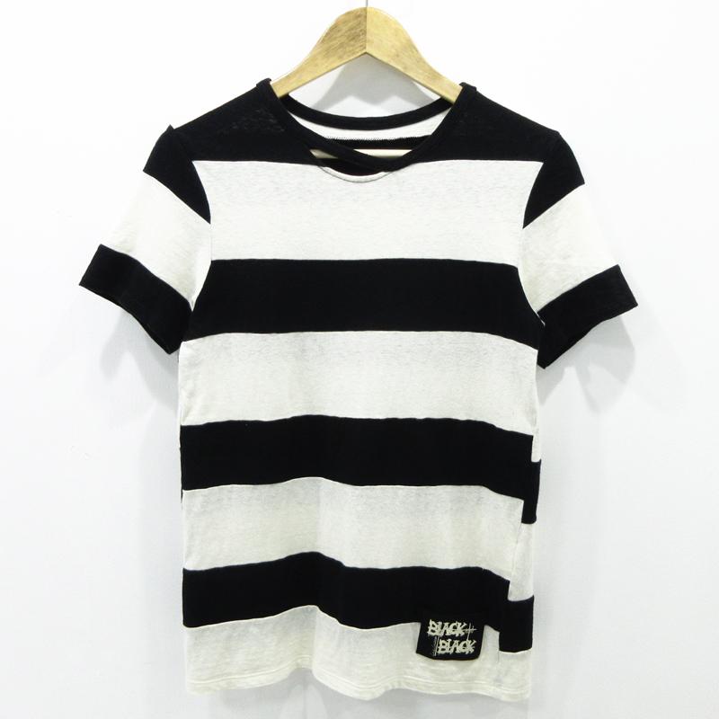 【中古】Yohji Yamamoto|ヨウジヤマモト BLACK and BLACK ボーダー柄 半袖 Tシャツ サイズ:2【f108】