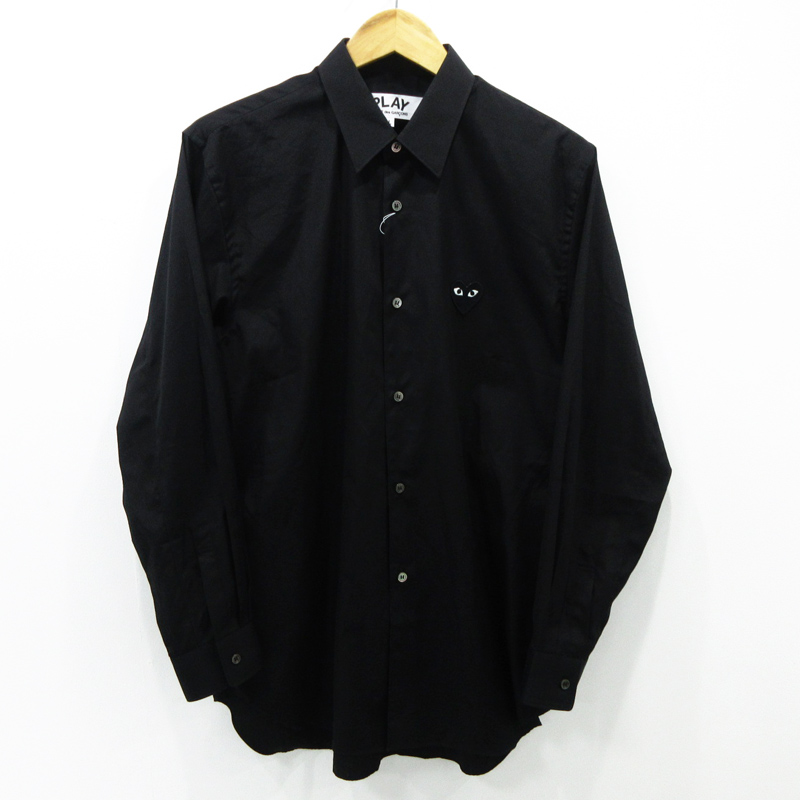【中古】PLAY COMME des GARCONS|プレイコムデギャルソン 長袖 シャツ AZ-B004 ブラック サイズ:L【f108】
