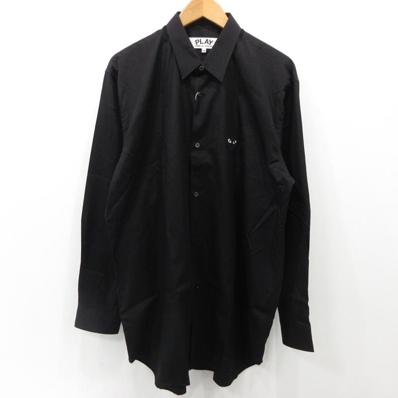 【中古】PLAY COMME des GARCONS プレイコムデギャルソン ブラック ハート ロゴ 刺繍 長袖 シャツ AZ-B004 ブラック サイズ:XXL【f108】