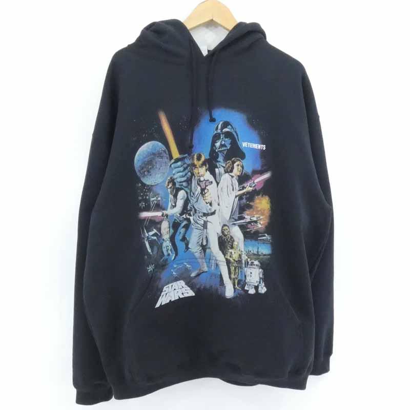 【驚きの値段】 VETEMENTS×STARWARS ヴェトモン×スターウォーズ Movie Poster 1 Hooded Shirt パーカー ブラック サイズ:S【f108】, PRIZM7 01c25be7