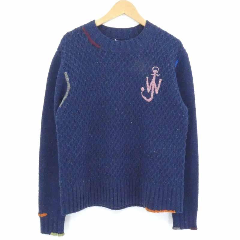 中古 JW Anderson ジェイダブリューアンダーソン 人気ブランド多数対象 CREWNECK DARNING JUMPER サイズ:M 注文後の変更キャンセル返品 セーター ニット ネイビー f108
