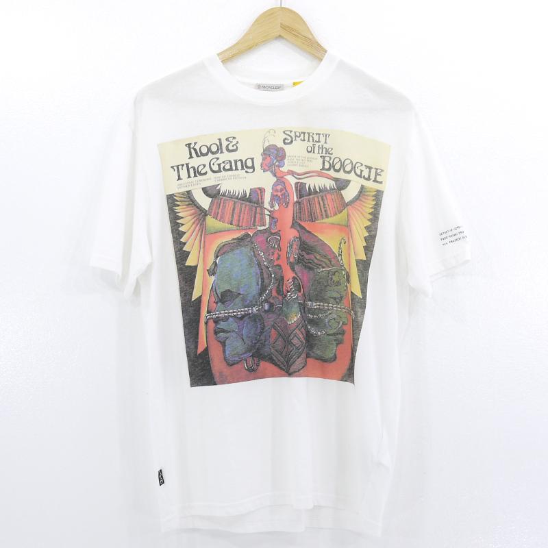 中古 最安値に挑戦 MONCLER×FRAGMENT モンクレール×フラグメント MAGLIA T-SHIRT 半袖Tシャツ プリント クルーネック f108 8392B サイズ:S ホワイト 大幅値下げランキング F209U8C70510