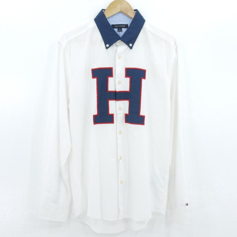 中古 TOMMY HILFIGER トミーヒルフィガー カラー:ホワイト サイズ:M ファクトリーアウトレット f906 Hロゴ長袖シャツ 流行