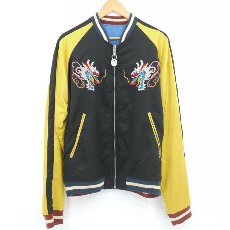 【中古】DIESEL/ディーゼル J-Crust Souvenir Jacket ボンバージャケット スカジャン リバーシブル サイズ:XL カラー:ブラック・ブルー【f906】