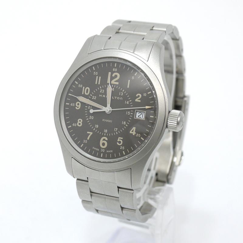 202103pd 中古 HAMILTON 本物 ハミルトン 腕時計 カーキ f131 シルバー×ブラック クオーツ SALE H68201193 フィールド