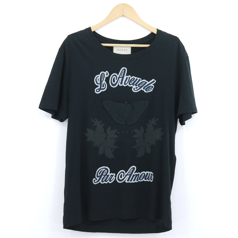 【中古】GUCCI|グッチ バタフライ 半袖Tシャツ ブラック サイズ:S【f108】