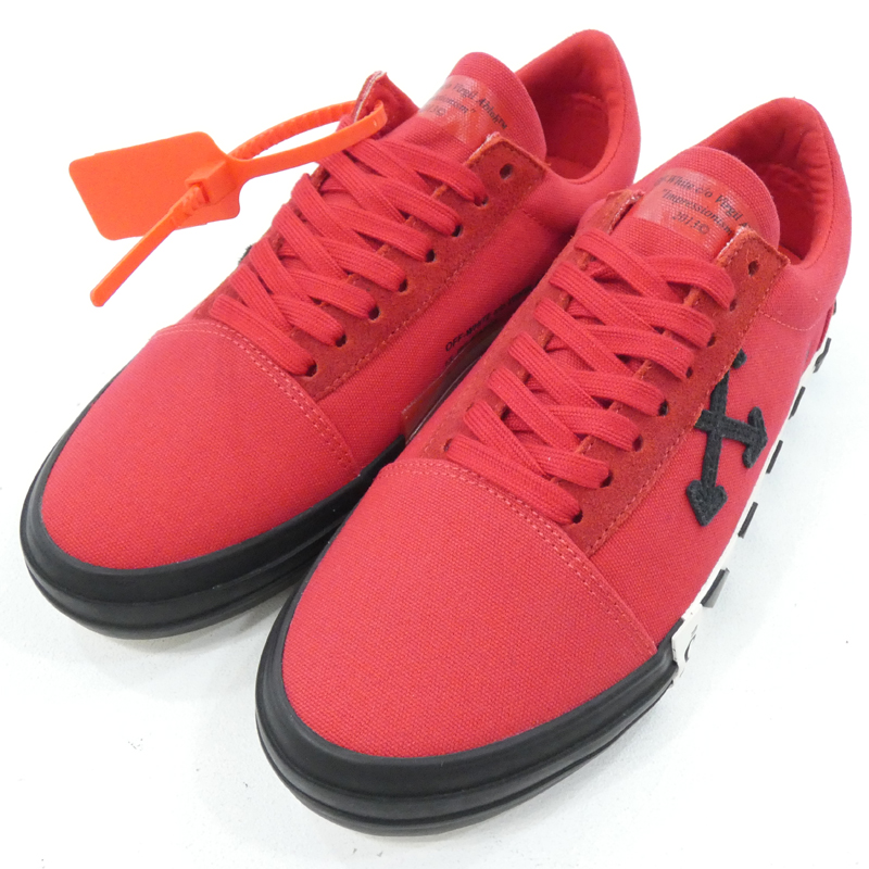 【中古】OFF-WHITE|オフホワイト VULCANISED STRIPED LOW TOP RED NO COLOR スニーカー レッド サイズ:41【f126】