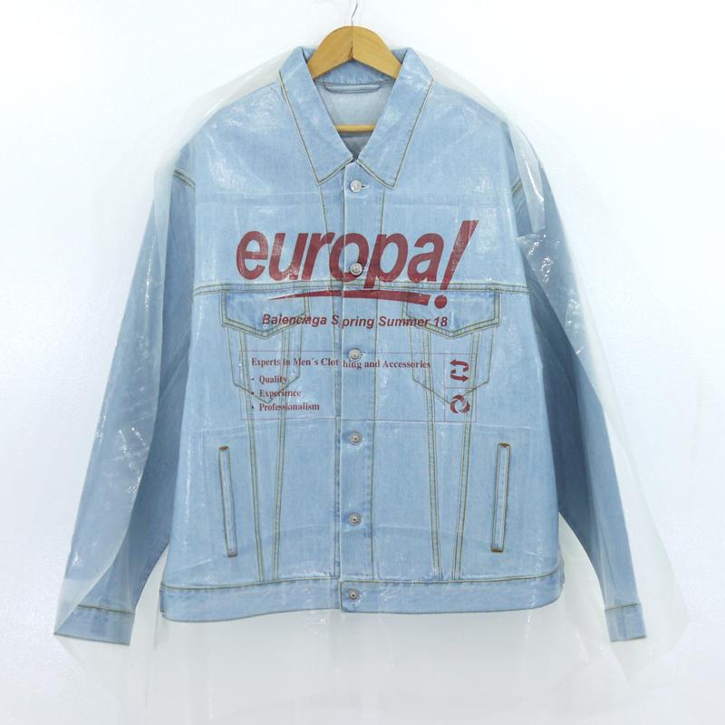 【中古】BALENCIAGA|バレンシアガ ドライクリーニングビッグデニムジャケット ブルー サイズ:48【f108】
