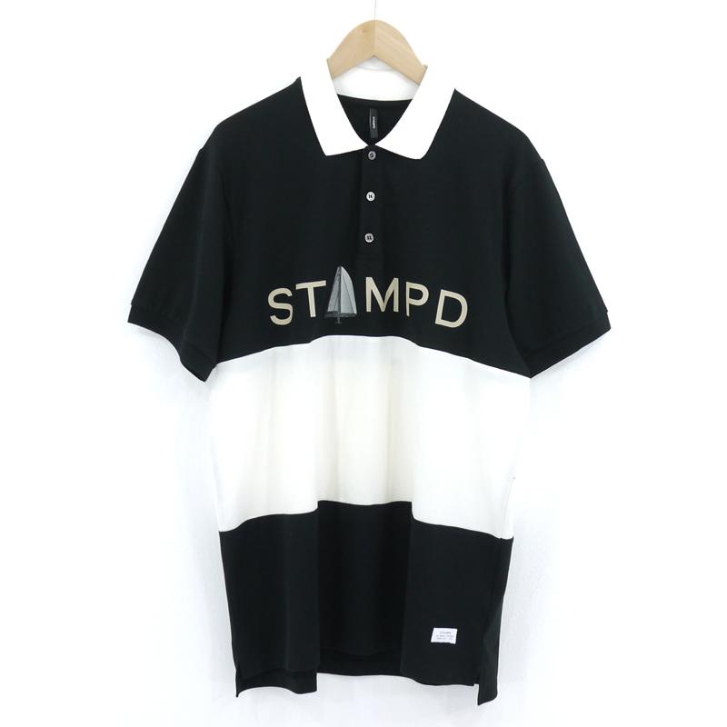 【中古】STAMPD スタンプド SAIL SHORT SLEEVE POLO ロゴ プリント 半袖ポロシャツ ブラック×ホワイト サイズ:L【f103】