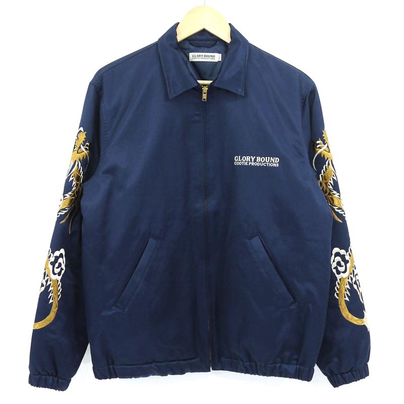 【中古】COOTIE|クーティー Souvenir Jacket/スーベニアジャケット 刺繍 ネイビー サイズ:S【f096】