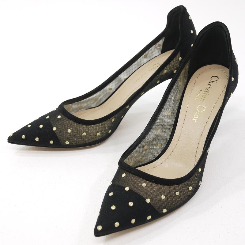 【中古】Christian Dior クリスチャンディオール プリュムティチュール パンプス D-MOI ブラック×ゴールド サイズ:35・1/2 D【f135】