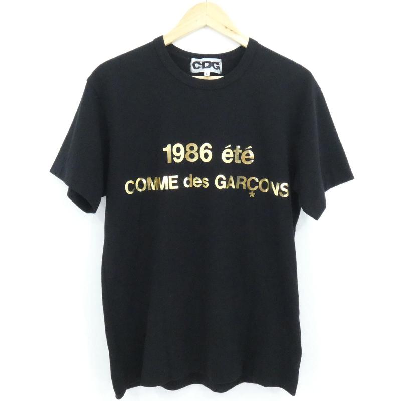 【中古】CDG シーディージー 名古屋限定 ゴールドロゴ Tシャツ ブラック サイズ:L【f108】