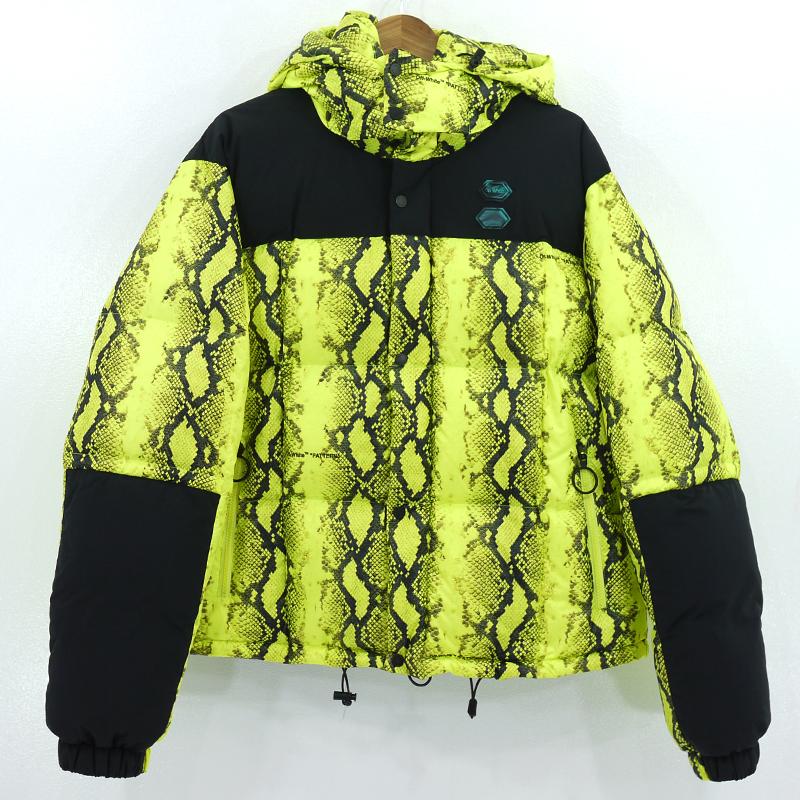 【中古】OFF-WHITE|オフホワイト snake print padded jacket ダウンジャケット イエロー サイズ:XL【f108】
