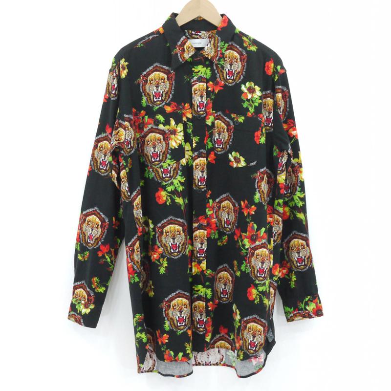 【中古】FACETASM|ファセッタズム LION FLOWER BIG SHIRT/長袖ロングシャツ ブラックなど サイズ:4【f104】