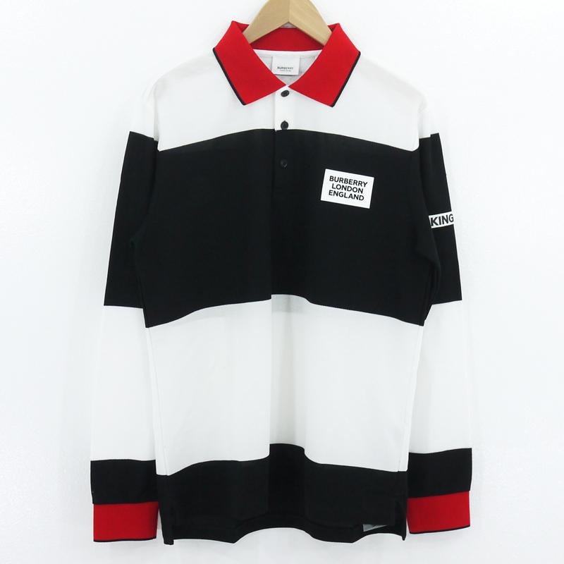 【中古】BURBERRY LONDON ENGLAND|バーバリーロンドンイングランド ボーダー ポロシャツ ブラック×ホワイト サイズ:S【f102】