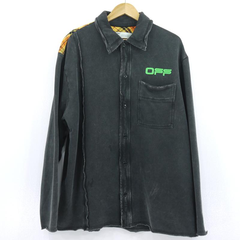 【中古】OFF-WHITE|オフホワイト FLEECE RECONSTRUCTED SHIRT 長袖シャツ 20SS グレー サイズ:M【f108】