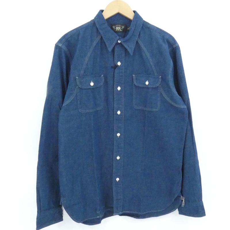 【中古】RRL|ダブル アールエル シャンブレーシャツ  ブルー サイズ:M【f101】