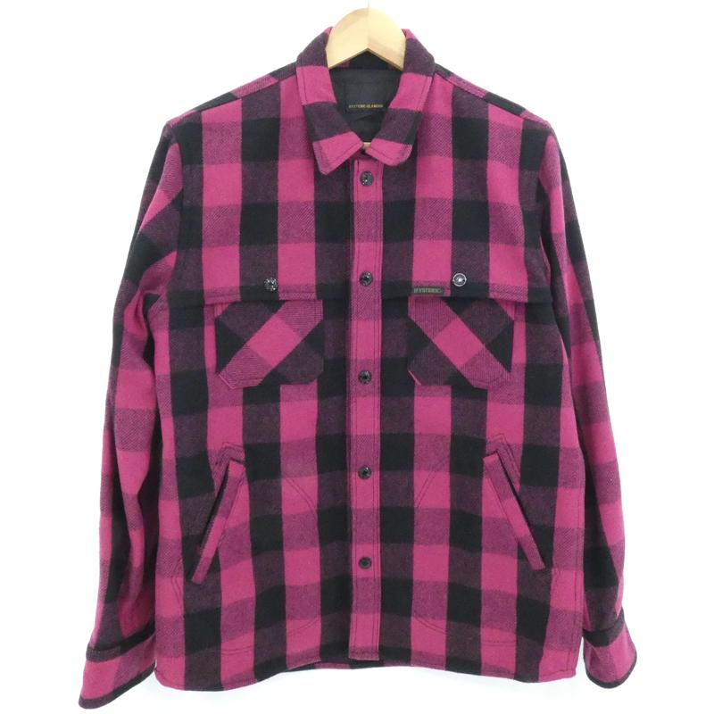【中古】HYSTERIC GLAMOUR|ヒステリックグラマー チェック刺繍シャツジャケット ピンク系 サイズ:L【f096】