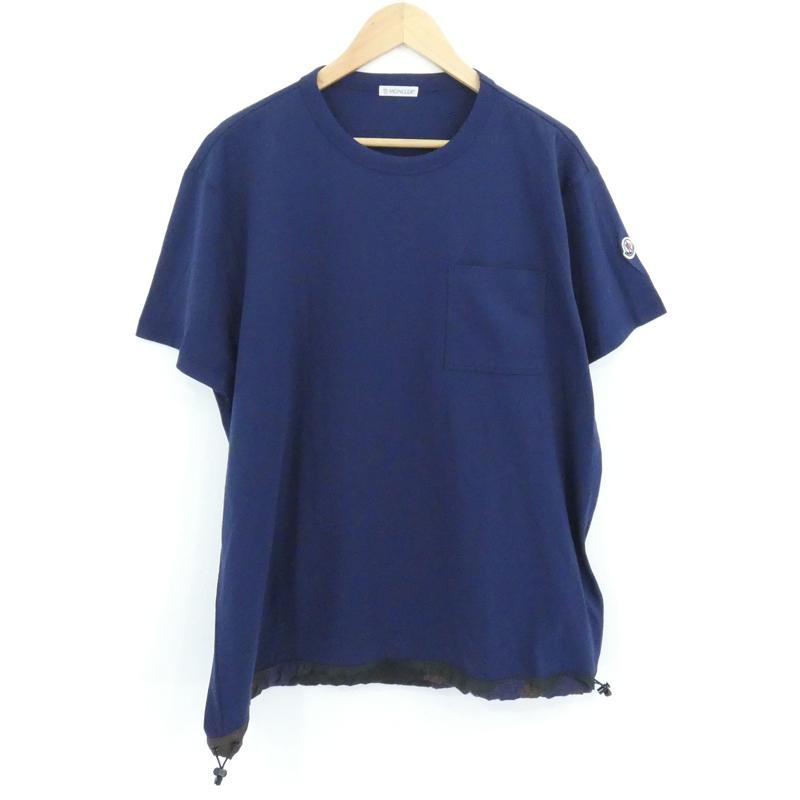 【中古】MONCLER|モンクレール ポケットTシャツ 裾カモ ネイビー サイズ:XXL【f108】