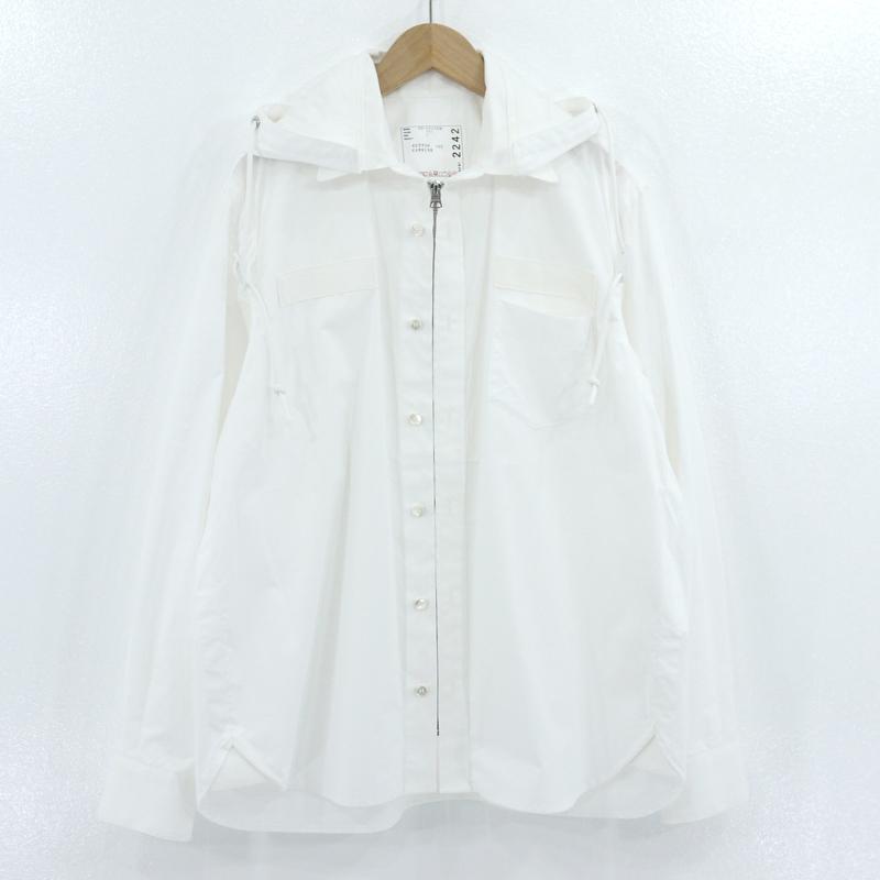 【中古】sacai|サカイ POPLIN HOODIE シャツジャケット ホワイト サイズ:1【f108】