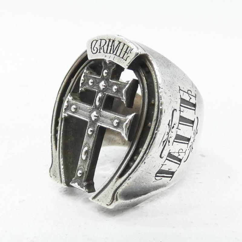 中古 CRIMIE クライミー ホースシュー クロスリング f134 指輪 買物 サイズ: シルバー 10%OFF