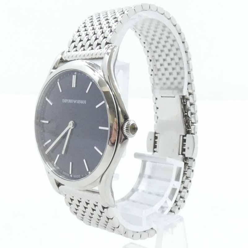 202103pd 中古 EMPORIO SALE開催中 ARMANI エンポリオアルマーニ 腕時計 ご注文で当日配送 f131 ARS2005 クォーツ シルバー×ブラック
