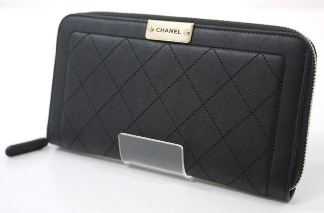 【中古】CHANEL/シャネル 84300 マトラッセ ラウンドファスナー長財布