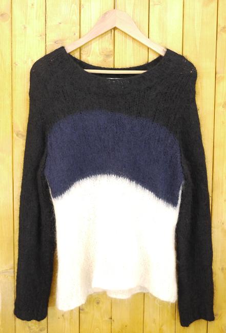 【中古】GANRYU/ガンリュウ 16AW Mohair Knit Sweater/モヘアニット サイズ:S カラー:ブラック×ネイビー×ホワイト