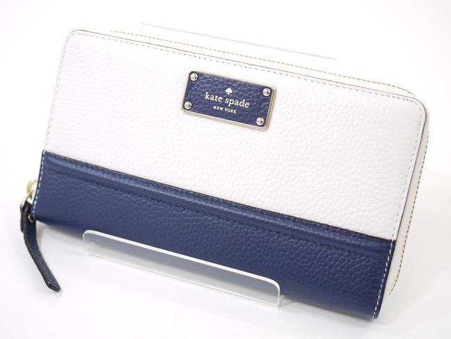 【中古】kate spade/ケイト・スペード レザーラウンドファスナー長財布  バイカラー カラー:ホワイト×ネイビー