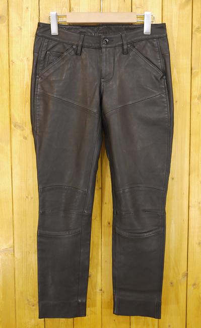 【中古】G-STAR RAW/ジースター・ロゥ Leather Tapered Pants レザーパンツ サイズ:25 カラー:ブラック