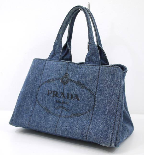 【中古】PRADA/プラダ B1877G デニム カナパ トートバッグ