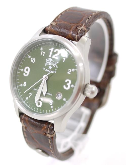 【中古】IL BISONTE/イル ビゾンテ 腕時計 H0502-VS カーキ×ブラウン クォーツ 革(レザー)ベルト