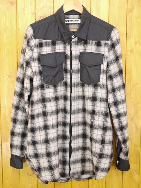 【中古】OFF-WHITE/オフホワイト 切替チェックシャツ サイズ:XS カラー:グレー・ブラックなど