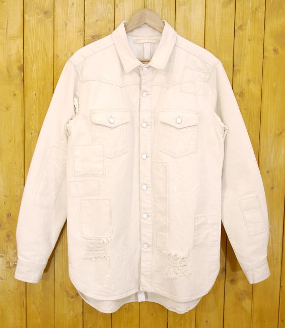 【中古】OFF-WHITE/オフホワイト CANVAS SHIRT WITH PATCHES ペイント クラッシュ キャンバス ジャケット サイズ:M カラー:ホワイト系(アイボリー)