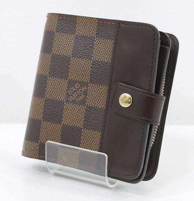 【中古】LOUIS VUITTON/ルイ・ヴィトン N61668/CA0085 ダミエ コンパクト・ジップ 二つ折り財布【f125】