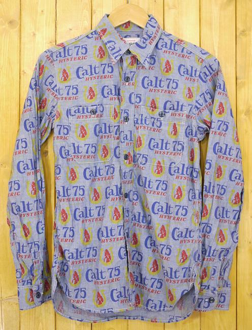 【中古】HYSTERIC GLAMOUR/ヒステリックグラマー チェック柄長袖ワークシャツ サイズ:S カラー:ブルー【f104】