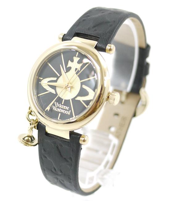 【中古】Vivienne Westwood/ヴィヴィアンウエストウッド 腕時計 VV006BKGD ブラック×ゴールド クォーツ 革(レザー)ベルト【f131】