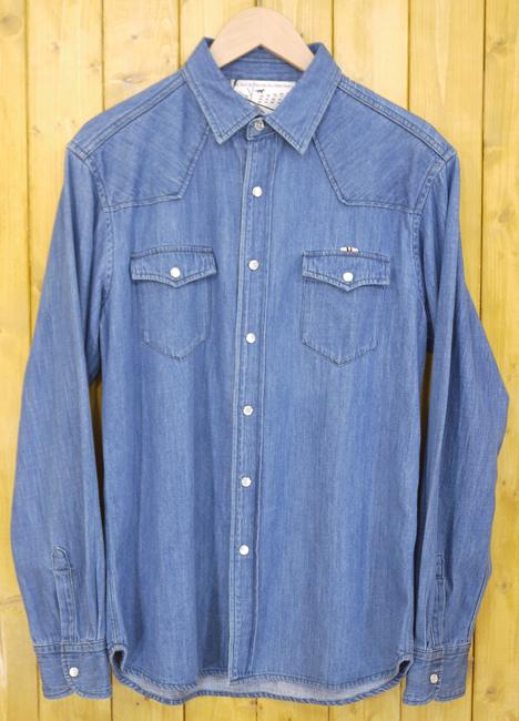 【中古】MAISON KITSUNÉ/メゾンキツネ 長袖ウエスタンシャツ/デニムシャツ サイズ:M カラー:ブルー【f108】