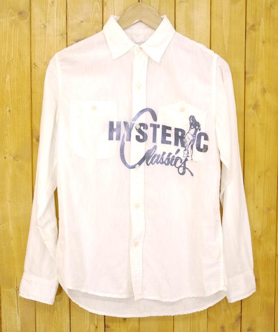 【中古】HYSTERIC GLAMOUR/ヒステリックグラマー CLASSICS pt 長袖ワークシャツ サイズ:S カラー:ホワイト【f104】