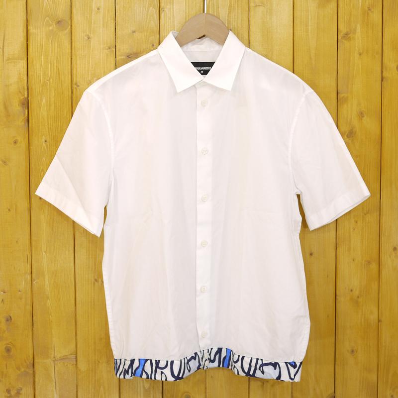 【中古】DSQUARED2/ディースクエアード 15SS 半袖シャツ サイズ:48 カラー:ホワイト【f102】