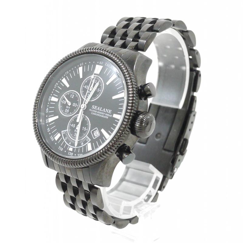 【中古】SEALANE/シーレーン 腕時計 - ブラック×ブラック クォーツ ステンレススティールベルト【f131】