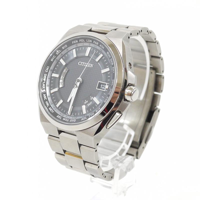 【中古】CITIZEN/シチズン 腕時計 ATTESA/アテッサ Eco-Drive/エコドライブ CB0120-55E ブラック×シルバー ソーラー チタンベルト【f131】