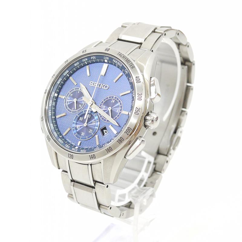 【中古】SEIKO/セイコー 腕時計 BRIGHTZ/ブライツ SAGA191 ブルー×シルバー ソーラー ステンレススティールベルト【f131】