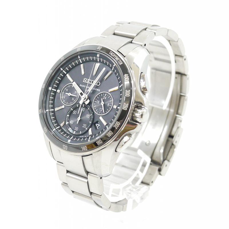 【中古】SEIKO/セイコー 腕時計 BRIGHTZ/ブライツ SAGA163 ブラック×シルバー ソーラー チタンベルト【f131】