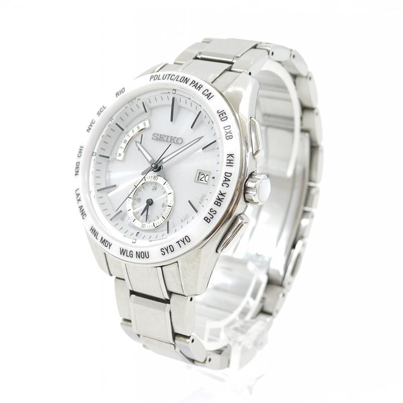 【中古】SEIKO/セイコー 腕時計 BRIGHTZ/ブライツ SAGA165 ホワイト×シルバー ソーラー ステンレススティールベルト【f131】
