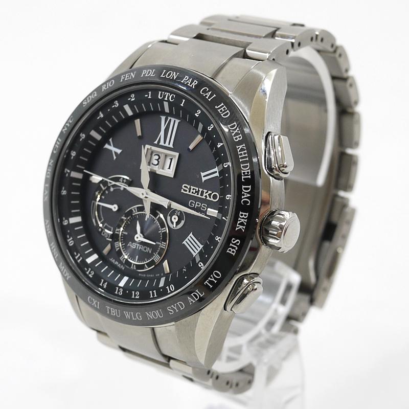 【中古】SEIKO/セイコー 腕時計 ASTRON/アストロン SBXB137 ブラック×シルバー ソーラー ステンレススティールベルト【f131】