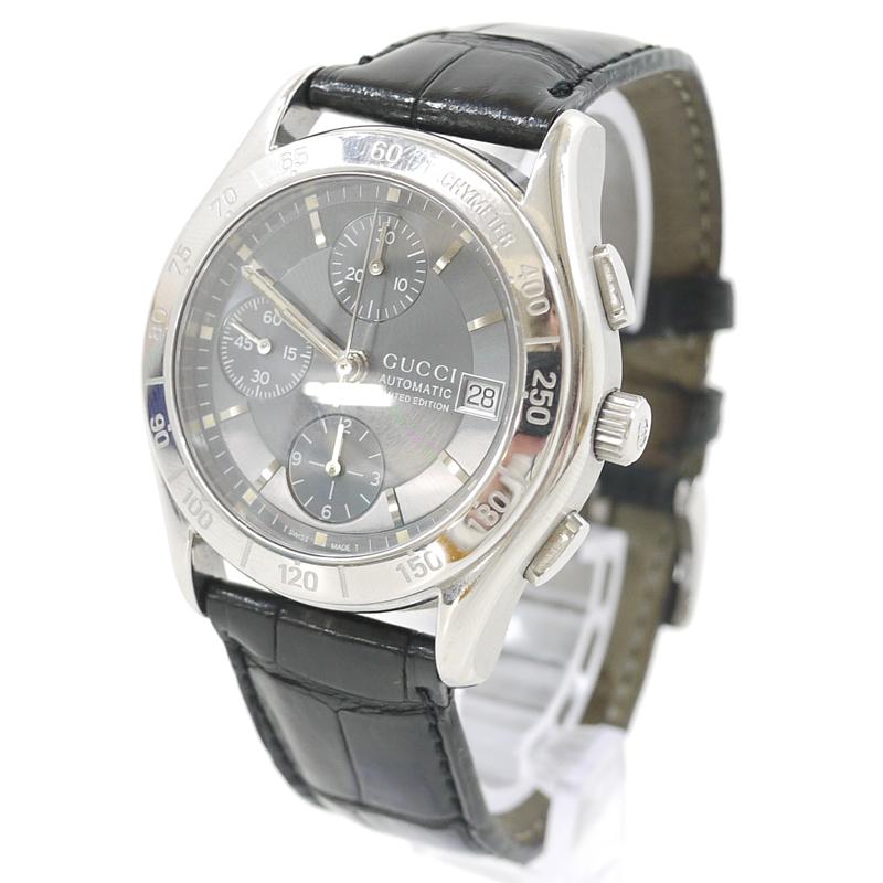 【中古】GUCCI/グッチ 腕時計 AUTOMATIC CHRONOGRAPH オートマチック クロノグラフ model503 グレー×ブラック 自動巻き(オートマチック) 革(レザー)ベルト【f131】