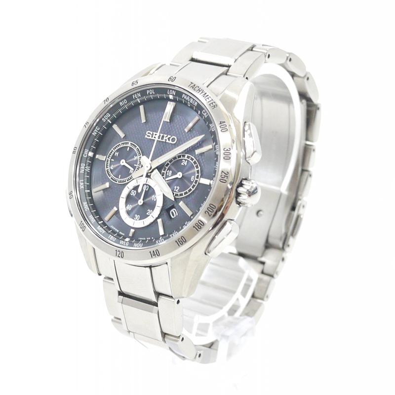 【中古】SEIKO/セイコー 腕時計 BRIGHTZ/ブライツ SAGA193 ブラック×シルバー ソーラー ステンレススティールベルト【f131】